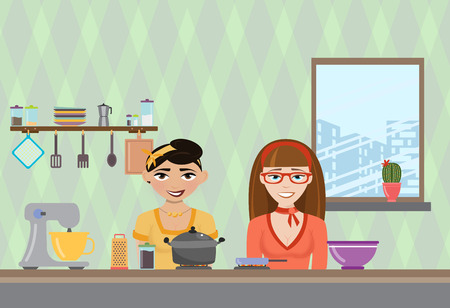 anchorman: Vector illustration of a womans cooking in the kitchen. TV show about cooking different dishes