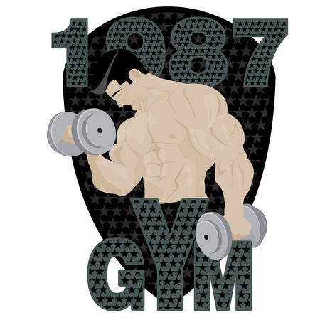 defined: Gym fitness emblem, badges, and designed element. Gym fitness muscle body weight bodybuilding. Strong people club vector gym fitness icon