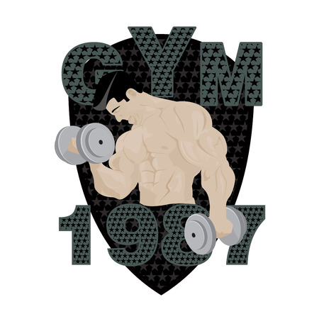 elite sport: Gym fitness emblem, badges, and designed element. Gym fitness muscle body weight bodybuilding. Strong people club vector gym fitness icon