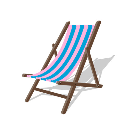 Vector wood beach rest chair. Relax outdoor striped seat illustration. Lounge concept furniture. Vector beach sit. Resort spa relax chair. Summer illustration. Leisure wood lounge with stripes on the beach
