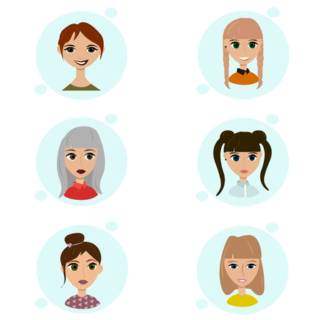 hairdress: Vector set of female avatar icons. People illustration, flat woman social media. Cartoon characters for web profile. Lovely hipster pigtail ponytail nice hairdress. Flirty girls face Illustration