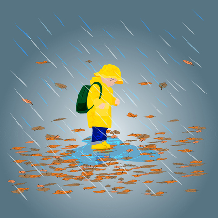 walk through: Kid in raincoats and rubber boots in the rain illustration