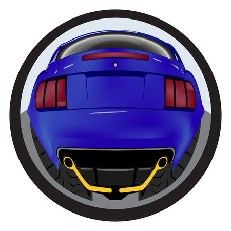 customized: American customized muscle car a rear view. Effect fisheye Illustration