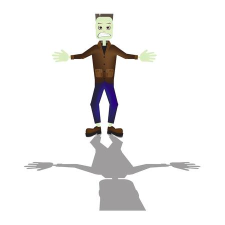 cartoon frankenstein: Halloween cartoon Frankenstein monster character standing with shadow illustration