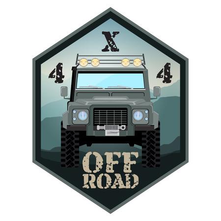 offroad car: khaki offroad car truck 4x4 illustration
