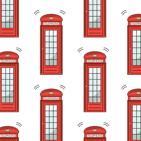 telephone box: UK London symbol - icons - silhouette - stencil - vector illustration red telephone box pattern isolated white. Modern urban texture
