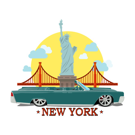 Cabriolet car on a background of the Statue of Liberty ?nd Golden Gate Bridge Illustration