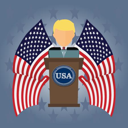 Prezydent USA przemawia do ludzi z trybun.