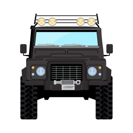 offroad car: Black offroad car truck 4x4 illustration