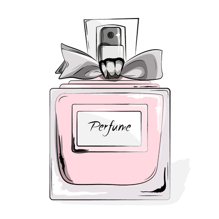 couture: Haute Couture Watercolor Art Card. Perfume pink bottle in vector. Trendy woman glamour print. Fashion, Style, beauty. Aroma liquid. Cosmetic fragrance