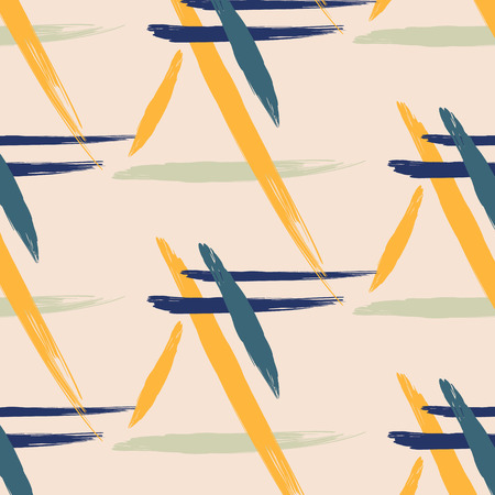 80s: Unusual brush pattern vector design. Retro yellow vintage 80s or 90s hipster fashion style. Memphis endless pattern. Trendy geometric brush strokes elements. Modern abstract funky design. Illustration