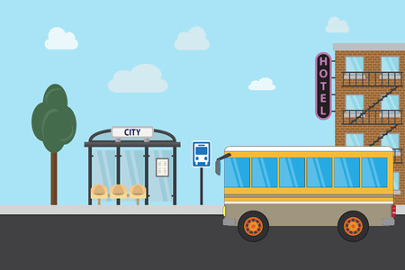 Bus stop with city background. Flat design