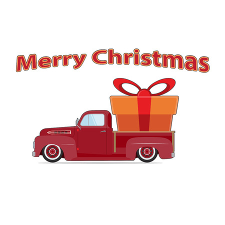 Vintage red car with Christmas tree. Christmas picture. Red pickup. Illustration