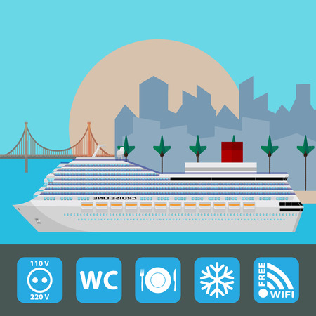 Cruise ship. Holiday travel poster. Flat design