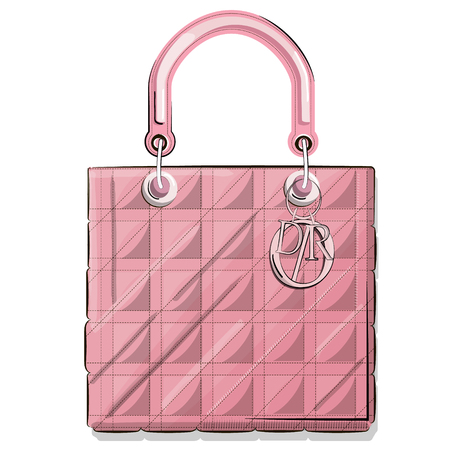 vogue style: Vector hand drawn graphic fashion sketch bag. Rectangle luxury purse Trend glamour contemporary illustration in vogue style. Expensive pink tote Illustration