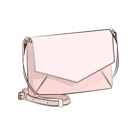 Vector fashion isolated bad. Crossbody luxury purse. Woman accessories. Tote clutch in beige color. Girls ]gift