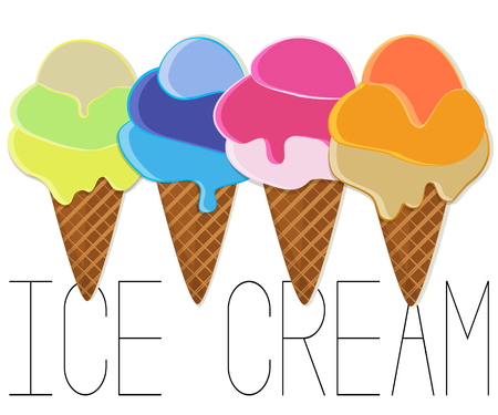 Ice cream vector illustration. Gelato cartoon collection. Kids cafe clipart. Cake frozen tasty food. Vegetarian natural lunch