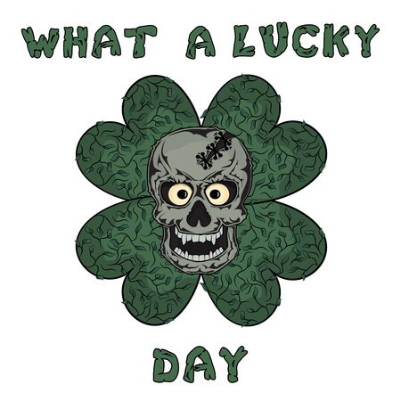 clover face: The bones of the skull human skeleton and lucky clover