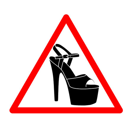 vector triangle with shoes inside. Heels icon. Vector high heels automobile woman driver sign. Pole dance warning icon. Strip symbol for car Caution dancer on board. Elegant black silhouette.