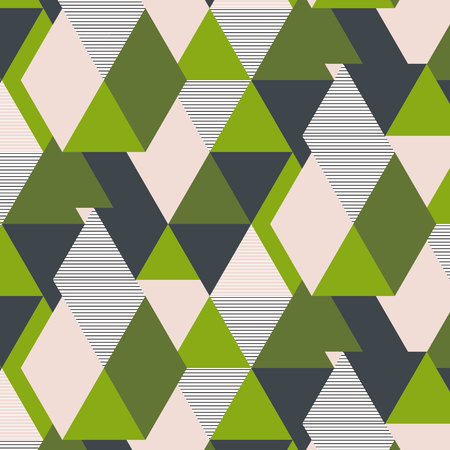 Vector fresh green triangle geometric pattern. Summer 2017 modern poly decoration. Hpster khaki print. Trendy grid with striped elements