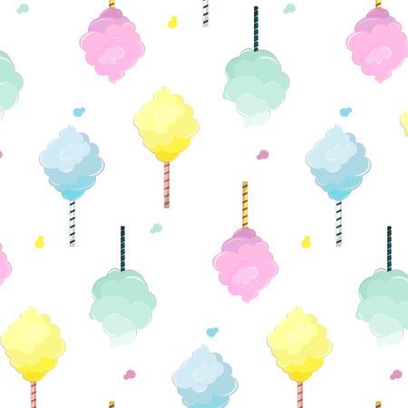 Sweet cotton candy pattern. Cute food texture. Dessert kids decoration with light pink, mint, blue and yellow sugar clouds. Soft pastel fluffy print