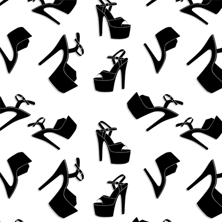 Vector pole dance sexy shoes. High heels pattern for striptease, Striped black yellow exotic dancer boots. Silhouette adult erotic shoes print