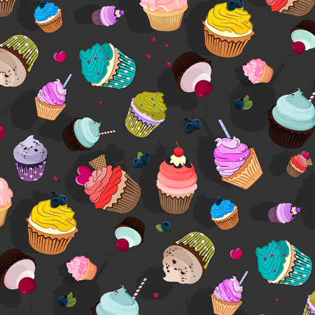 vanilla pudding: Vector sweet food pattern. Cupcake delicious dessert, Sweet decorated cakes with muffin. Cartoon wallpaper texture Illustration