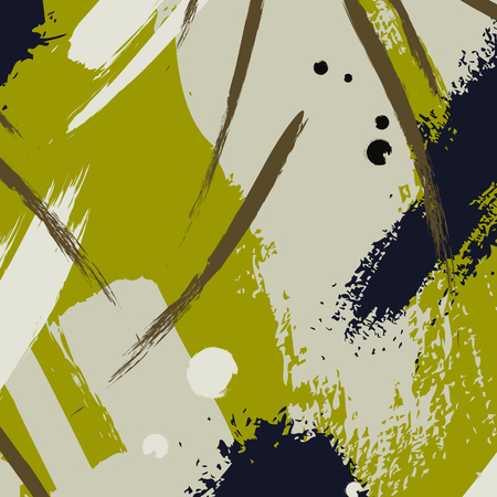 impression: Vector ink drawing. Chaotic khaki color decoration. Brushstroke freehand drawing. Fresh textile popular art