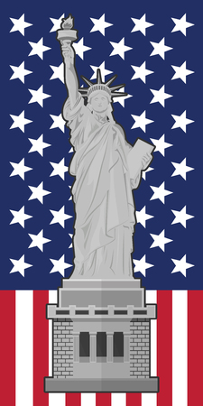 ny: Statue of Liberty. Flag of the United States of America Illustration