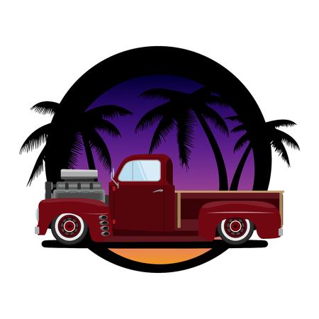 Vintage car a vector illustration isolated T-shirt design Illustration