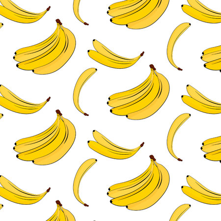 Vector banana pattern. Yellow summer plant colorful background. Banana tropical natural fruit print. Food vegan cover