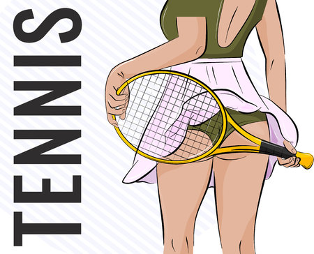 Vector sport girl illustration. Tennis athlete woman with sexy butt and racket. Fitness player swag clipart. Slim temptation print Stock Vector - 82432979