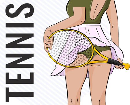 Vector sport girl illustration. Tennis athlete woman with butt and racket. Fitness player swag clipart. Slim temptation print
