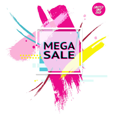 Vector banner with text Mega Sale for emotion and motivation. Poster in epic 90s minimal style with splash background. Retro hand-drawn advertising design elements for sale theme, shop, market
