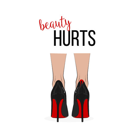Stampa di moda Bellezza fa male con le gambe in tacchi alti. Illustrazione di notte alla moda moderna di vettore. Pompe sole rosse con sangue sulla schiena Stile di vita glamour doloroso