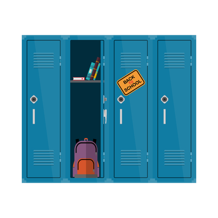 Bienvenido de nuevo a la ilustración de la escuela. Vector plano niños clipart con armario con libros y mochila. Diseño educativo del armario de la escuela Colorido interior
