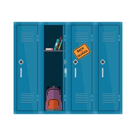 Witamy z powrotem do ilustracji szkoły. Płaskie wektora dla dzieci clipart z szafki z książkami i plecak. Szkoła szafki edukacyjnej projektowania Kolorowe wnętrza