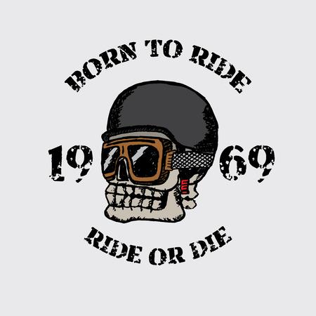 Vintage motorcycle t-shirt graphics. Born to ride. Ride or die. Biker t-shirt. Motorcycle emblem. Monochrome skull. Vector illustration.