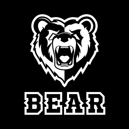 Modern professional grizzly bear logo for a sport team Çizim