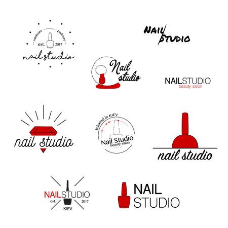 네일 스튜디오 벡터 아이콘입니다. 아름다움 레이블. 인사말 카드, 일러스트, 로고 디자인입니다. 타이 포 그래피 장식 회사 카드입니다. 스타일 정체