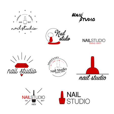 Nail studio vector icon. Beauty labels. Greeting cards , illustration, logo design. Typography decoration company card. Style identity logotype. Emblem concept web banner. Product name set