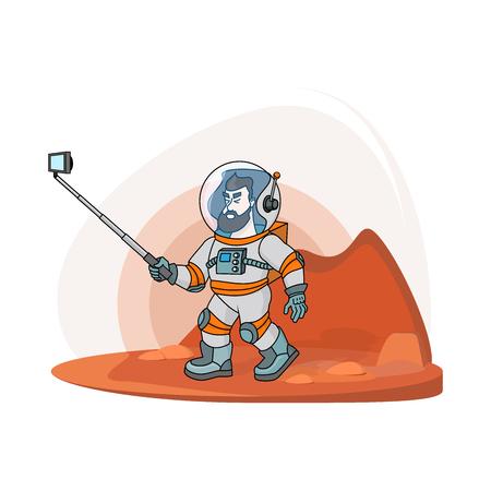 Vektor flacher Astronaut, der selfie macht. Moderne kreative Illustrationsmänner mit Telefon im Universum auf rotem Hobel mit selfie Stock. Kosmosraumfahrt auf dem Monddruck