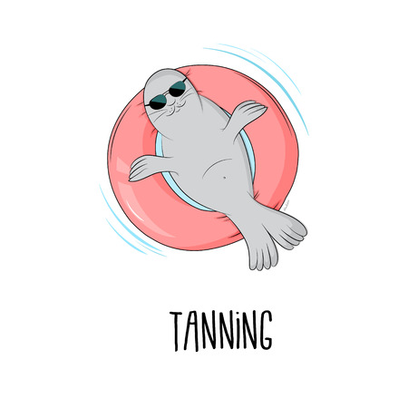 Tanning seal vector illustration. Cartoon cute mammal lazy fat marine lion character sunbathing on pink inflatable mattres. Chill time on vacation Illustration