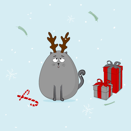 Christmas cat with horn and presents