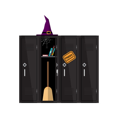 Welcome back to school illustration. Flat vector witch clipart with cupboard with books and broom. School locker halloween design. Colorful interior. Witch school