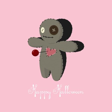 Voodoo doll. Cartoon horror elements. Spooky fear trick or treat
