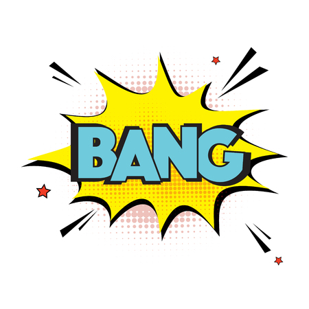 Vector comic explosion bang sign. Lettering bang text. comic book letters, cartoon text dialog, colored cloud. Abstract creative hand drawn vector exclusive font bubble. Speech balloon pop art style