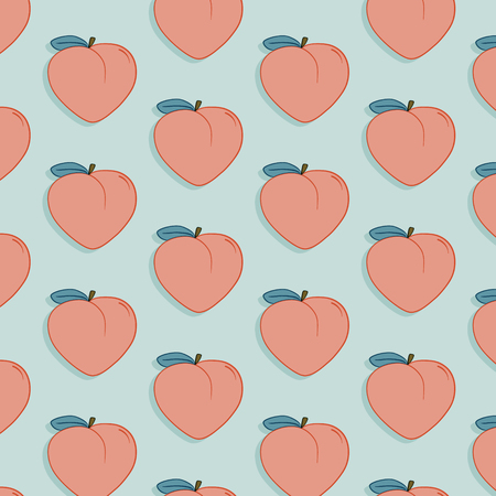 Vector tasty fruit pattern with peach. Exotic fashion food drawing illustration. Sweet nature juicy organic modern print
