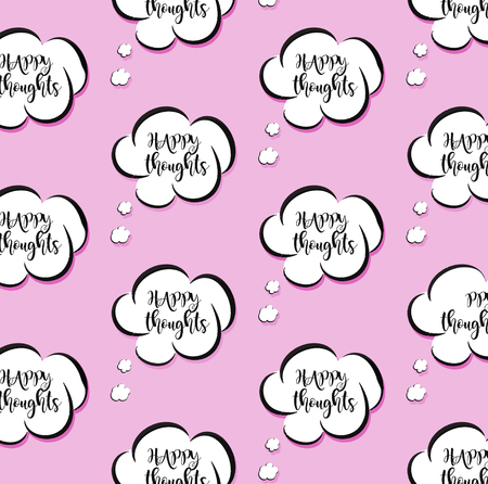Vector pink vector though clouds. Woman bubble talk sign. Comic cartoon happy message. Positive vibes decoration