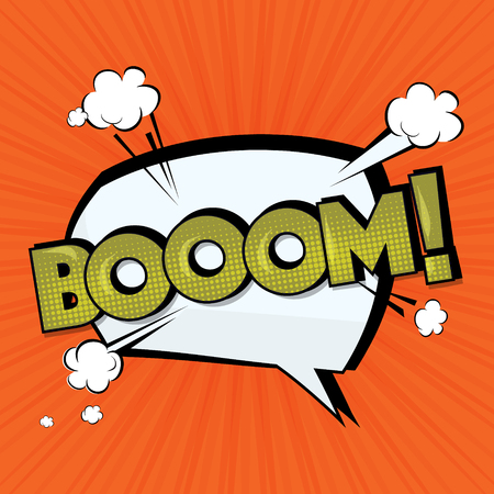 Boom vector comic cloud. Funny pop art tag. Lettering Boom, bomb. Comic text sound effects. Vector bubble icon speech phrase, cartoon exclusive font label tag expression, sounds illustration. Comics Stock Photo
